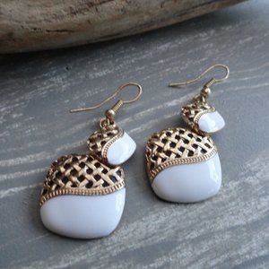 3/$20 gold and white vintage earrings